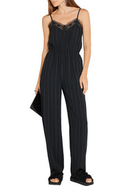 Lace-trimmed pinstriped crepe jumpsuit