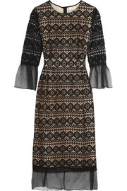 Ally cotton gauze-trimmed lace dress