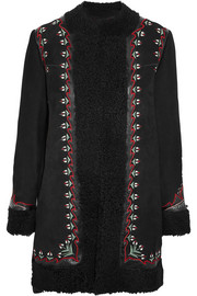 Agnes leather-trimmed embroidered shearling coat