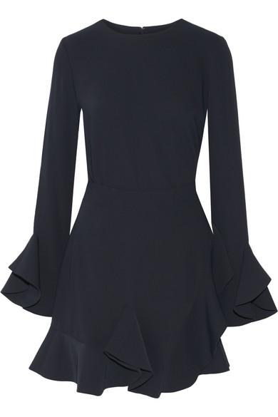 Goen J - Ruffled Crepe Wrap Mini Dress - Midnight blue