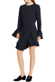 Ruffled crepe wrap mini dress