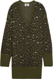 Exhall leopard-intarsia jacquard-knit sweater dress