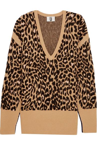 Topshop Unique - Exhall Leopard-intarsia Jacquard-knit Sweater - Leopard print