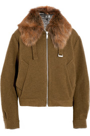 Fenton shearling-trimmed wool-blend felt bomber jacket
