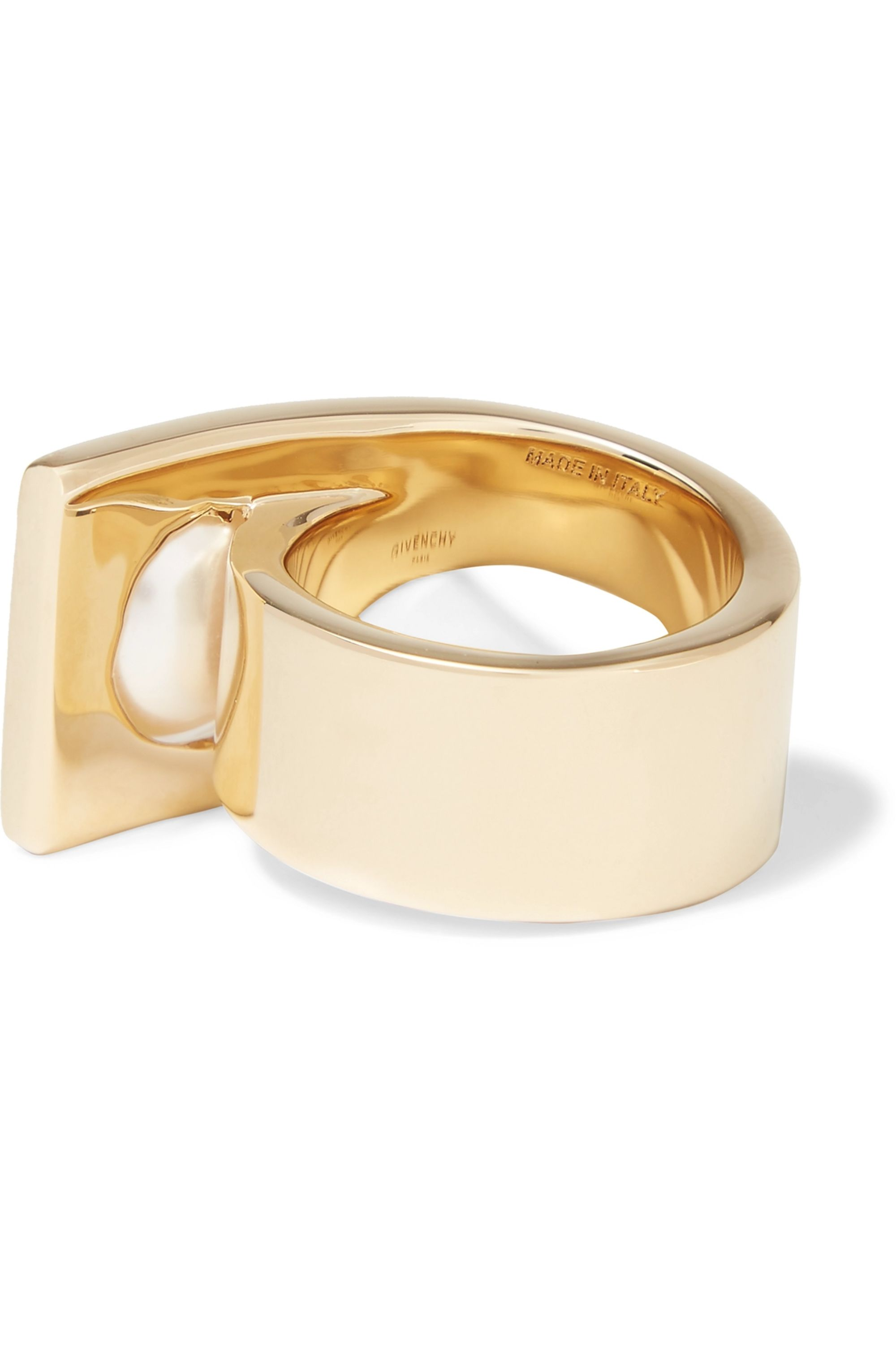 Givenchy Faux pearl ring in gold-tone brass