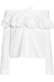 Off-the-shoulder ruffled cotton-poplin blouse