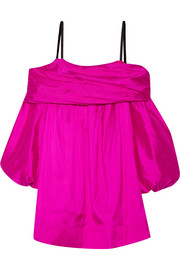 Off-the-shoulder silk-taffeta dress