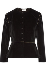 Embroidered stretch-velvet blazer