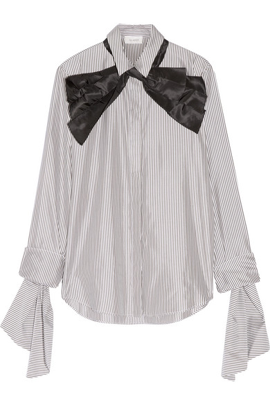 Isa Arfen - Pussy-bow Striped Cotton And Silk-blend Shirt - Charcoal