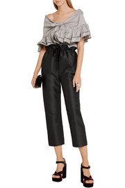 Cropped cotton and silk-blend straight-leg pants