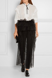 Layered flocked tulle midi skirt