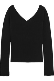 Ribbed wool-blend top