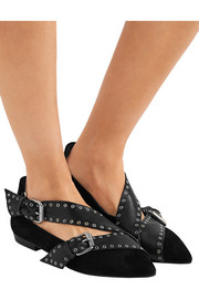 Isabel Marant Linnet eyelet-embellished leather and suede point-toe flats