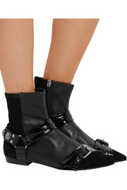 Isabel Marant Reidya patent-paneled leather and suede ankle boots