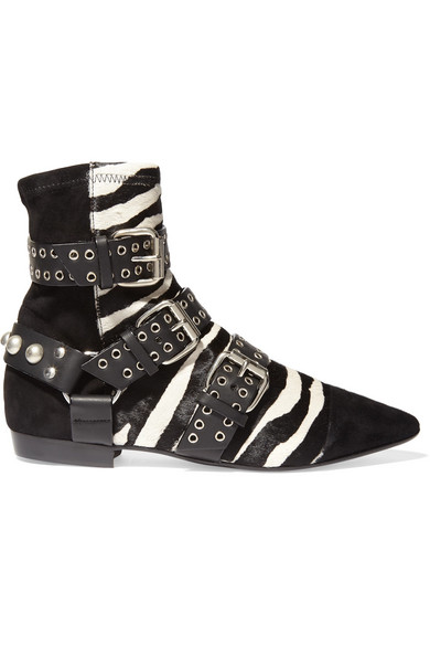 Isabel Marant - Rolling Zebra-print Calf Hair, Suede And Leather Ankle Boots - Zebra print