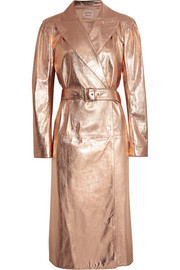 Lanvin Metallic textured-leather trench coat