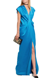 Twist-front washed-satin maxi dress
