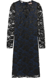 Lanvin Metallic floral-lace dress