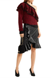 Lanvin Asymmetric ruffled leather skirt