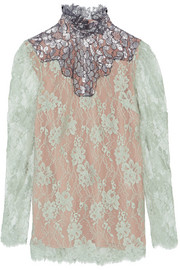 Lanvin Metallic-paneled lace blouse