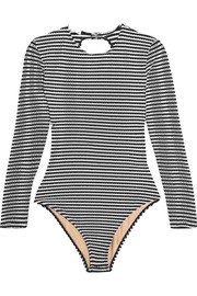 Striped open-back swimsuit