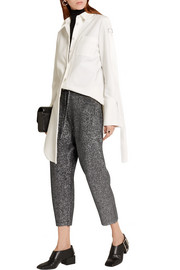 Jil Sander Cropped metallic wool-blend track pants