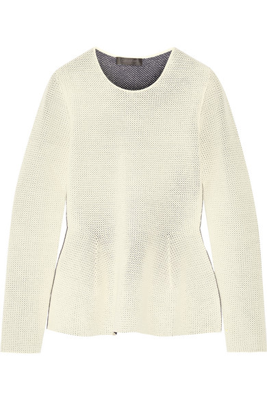 Calvin Klein Collection - Open-knit Peplum Sweater - Cream