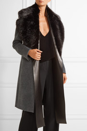 Calvin Klein Collection Oversized faux fur and leather scarf