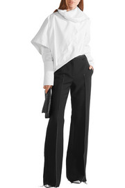 Calvin Klein Collection Frayed stretch-crepe wide-leg pants