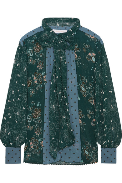 See by Chloé - Pussy-bow Printed Georgette Blouse - Forest green