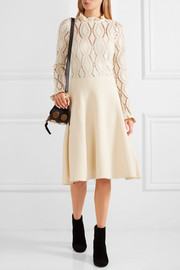 Pointelle-knit cotton-blend dress