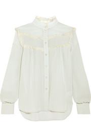See by Chloé Lace-trimmed silk crepe de chine blouse