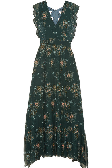 See by Chloé - Printed Georgette Maxi Dress - Forest green