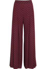 See by Chloé Pleated polka-dot crepe wide-leg pants