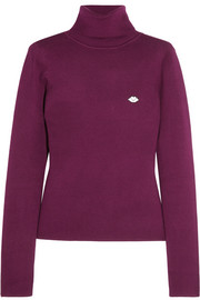 Appliquéd stretch cotton-blend turtleneck sweater