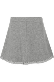 Crepe de chine-trimmed herringbone wool-blend mini skirt