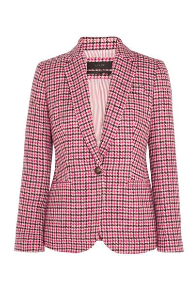 J.Crew - Campbell Houndstooth Wool-blend Blazer - Pink