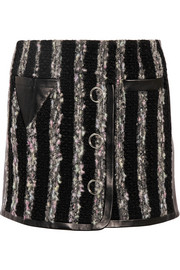 Leather-paneled bouclé mini skirt