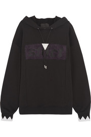 Alexander Wang Oversized embellished cotton-jersey hooded top