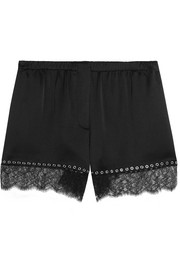 Eyelet-embellished lace-trimmed silk-satin shorts