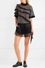 Alexander Wang Eyelet-embellished lace-trimmed silk-satin shorts