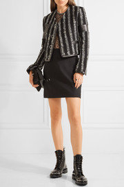 Alexander Wang Leather-trimmed striped bouclé-tweed jacket