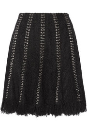 Embellished frayed tweed skirt