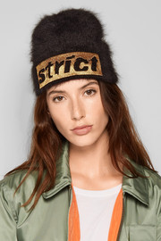 Alexander Wang Embroidered angora-blend beanie