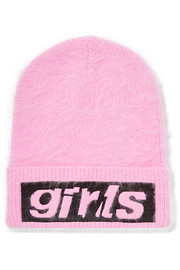 Embroidered angora-blend beanie