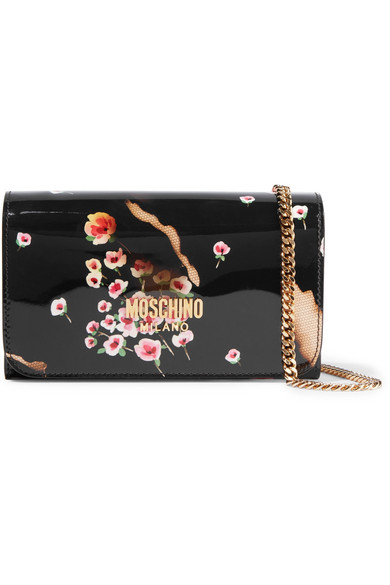 Moschino - Printed Patent-leather Shoulder Bag - Black