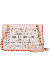 Good Girls Go To Heaven embroidered leather shoulder bag