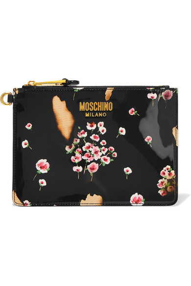 Moschino - Printed Patent-leather Pouch - Black