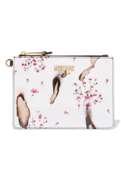 Moschino - Printed Patent-leather Clutch - White