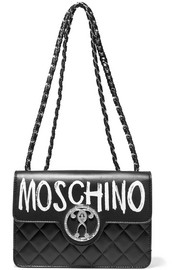 Moschino Printed quilted leather shoulder bag